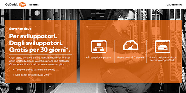 GoDaddy Cloud Server per sviluppatori
