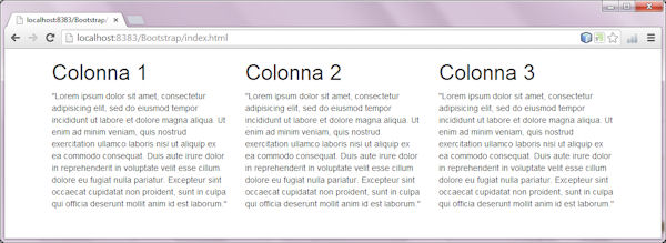 layout a tre colonne uguali