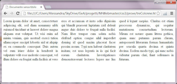 Layout a colonne con css3 mr webmaster - Testo la finestra ...