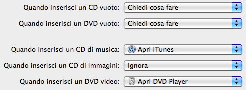 Preferenze di sistema CD e DVD