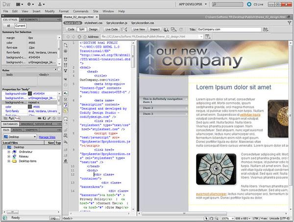 Software per il web design editor di pagine web e for Programmi per designer