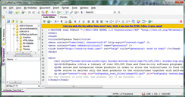 CoffeCup HTML Editor