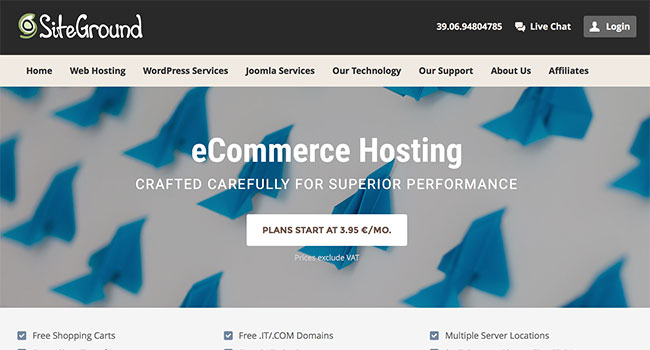 SiteGround hosting per e-commerce