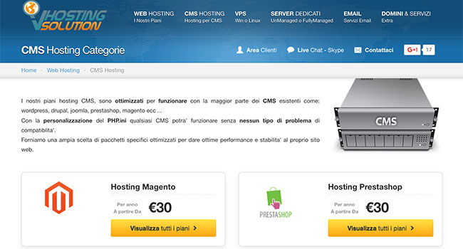 VHosting Solution offre piani hosting per Prestashop e Magento