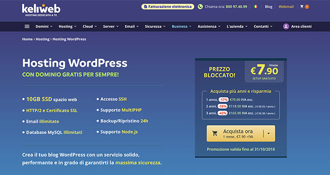 Hosting WordPress di Keliweb