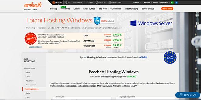 Aruba propone diverse soluzioni di Hosting Windows