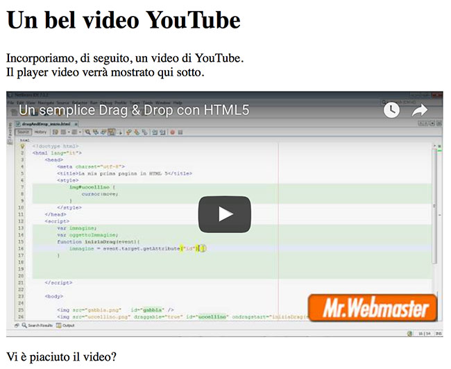 Esempio di video YouTube incorporato in una pagina web