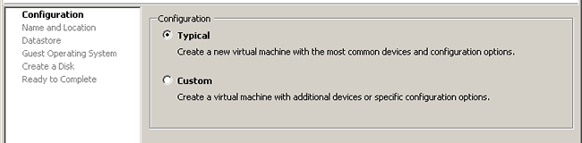 Configurazione Virtual Machine